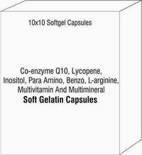 Co-enzyme Q10 Lycopene Inositol Para Amino Benzo L-arginine Multivitamin And Multimineral Softgel