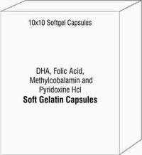 Softgels of DHA Folic Acid Methylcobalamin and Pyridoxine Hcl