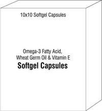 Softgel Capsules of Omega-3 Fatty Acid Wheat Germ Oil and Vitamin E