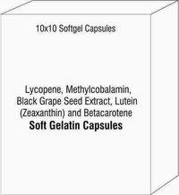 Lycopene Methylcobalamin Black Grape Seed Extract Lutein (Zeaxanthin) and Betacarotene Softgel Cap