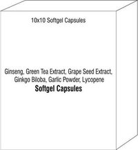 Soft Gel Capsules of Ginseng Green Tea Extract Grape Seed Extract Ginkgo Biloba Garlic Powder Lycope