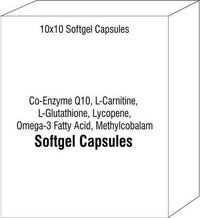 Softgel Capsule of Co-Enzyme Q10 L-Carnitine L-Glutathione Lycopene Omega-3 Fatty Acid Methylcobalam