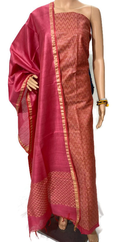 Pure Linen Silk Full Weaved Top 2.5 Mtrs, Dupatta 2.5 Mtrs ,bottom 2.15 Mtrs.