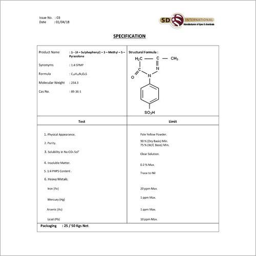 1 (4 Sulphophenyl )3 Methyl 5 Pyrazolone