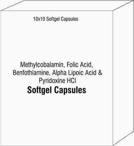 Methylcobalamin Folic Acid Benfothiamine Alpha Lipoic Acid and Pyridoxine HCI Softgel Capsules