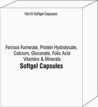 Ferrous Fumerate Protein Hydrolysate Calcium Gluconate Folic Acid Vitamins and Minerals Softgel Caps