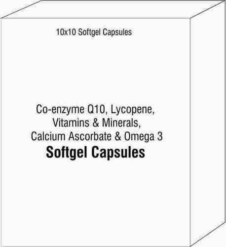 Soft Gelatin Capsule Of Co-enzyme Q10 Lycopene Vitamins and Minerals Calcium Ascorbate and Omega 3