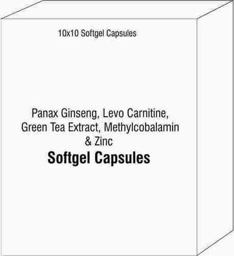 Soft Gelatin Capsules of Panax Ginseng Levo Carnitine Green Tea Extract Methylcobalamin Zinc