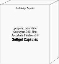 Softgel Capsules of Lycopene L-carnitine Coenzyme Q10 Zinc Ascorbate and Astaxanthin
