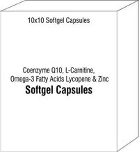 Coenzyme Q10 L-Carnitine Omega-3 Fatty Acids Lycopene and Zinc Softgel Capsules