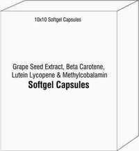 Soft Gelatin Capsules Of Grape Seed Extract Beta Carotene Lutein Lycopene and Methylcobalamin