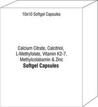 Softgel Capsule of Calcium Citrate Calcitriol L-Methyfolate Vitamin K2-7 Methylcolabamin Zinc