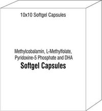 Soft Gelatin Capsule Of Methylcobalamin L-Methylfolate Pyridoxine-5 Phosphate and DHA