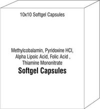 Softgel Capsules Of Methylcobalamin Pyridoxine HCI Alpha Lipoic Acid Folic Acid Thiamine Mononitrate