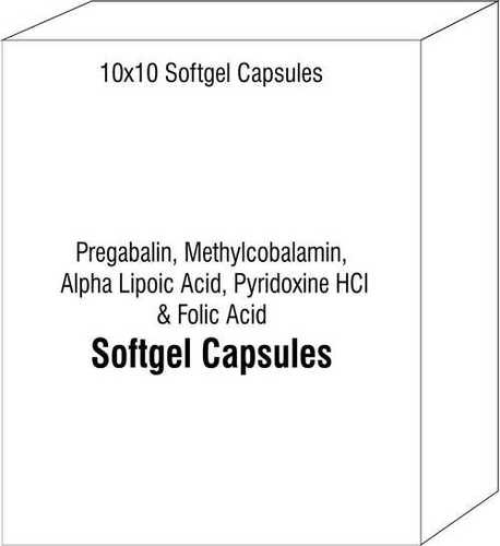 Softgel Capsule of Pregabalin Methylcobalamin Alpha Lipoic Acid Pyridoxine HCI and Folic Acid