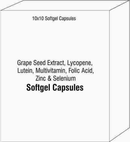 Softgel Capsules of Grape Seed Extract Lycopene Lutein Multivitamin Folic Acid Zinc and Selenium
