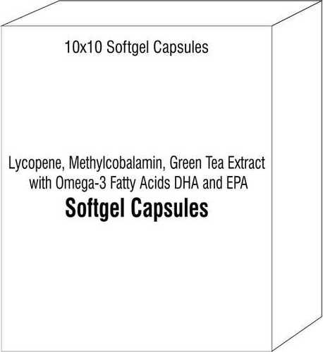 Softgel Capsules of Lycopene Methylcobalamin Green Tea Extract with Omega-3 Fatty Acids DHA and EPA