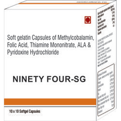 Soft Gelatin Capsules of Methylcobalamin Folic Acid Thiamine Mononitrate ALA and Pyridoxine