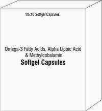 Softgel Capsules of Omega-3 Fatty Acids Alpha Lipoic Acid and Methylcobalamin