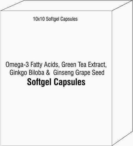 Softgel Capsules of Omega-3 Fatty Acids Green Tea Extract Ginkgo Biloba Ginseng Grape Seed Extract