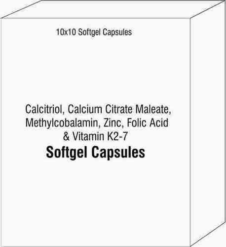 Calcitriol Calcium Citrate Maleate Methylcobalamin Zinc Capsules Folic Acid Vitamin K2-7 Softgel Cap