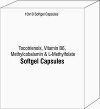 Softgel Capsules of Tocotrienols Vitamin B6 Methylcobalamin and L-Methylfolate