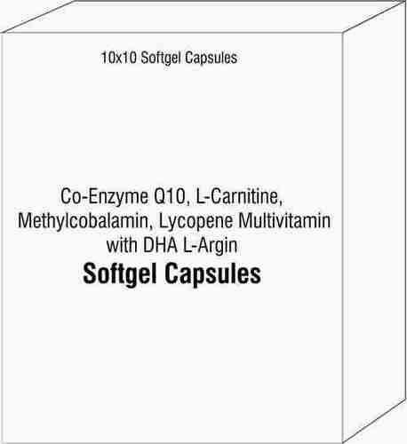 Softgel Capsules of Co-Enzyme Q10 L-Carnitine Methylcobalamin Lycopene Multivitamin with DHA L-Argin
