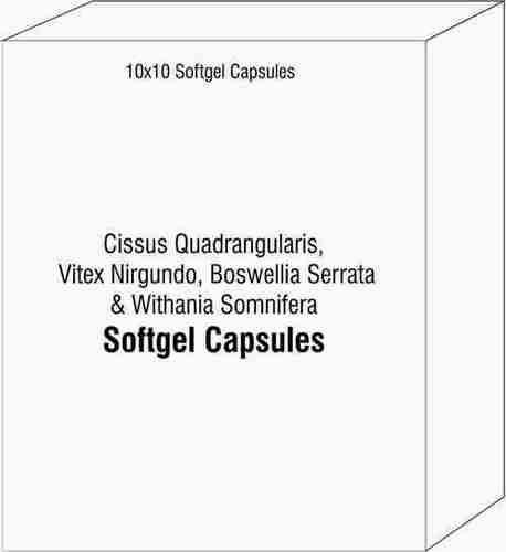 Softgel Capsules Of Cissus Quadrangularis Vitex Nirgundo Boswellia Serrata And Withania Somnifera