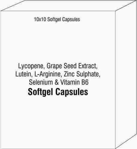 Softgel Capsules Of Lycopene Grape Seed Extract Lutein L-arginine Zinc Sulphate Selenium Vitamin B6