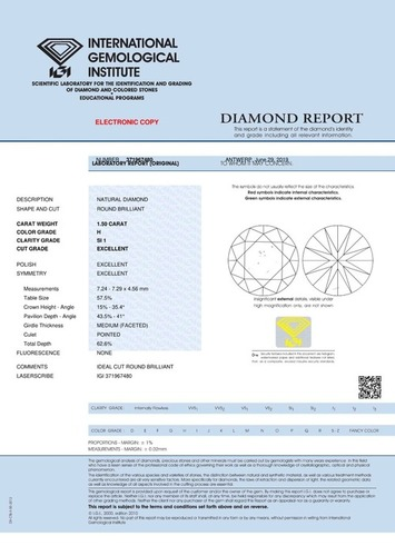 1.50ct H SI1 Round Brilliant Cut Natural Diamond IGI Certified TYPE2A