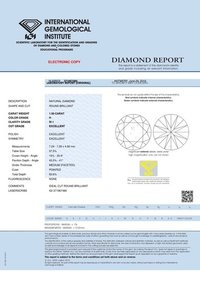1.50ct H SI1 Round Brilliant Cut Natural Diamond IGI Certified TYPE2A