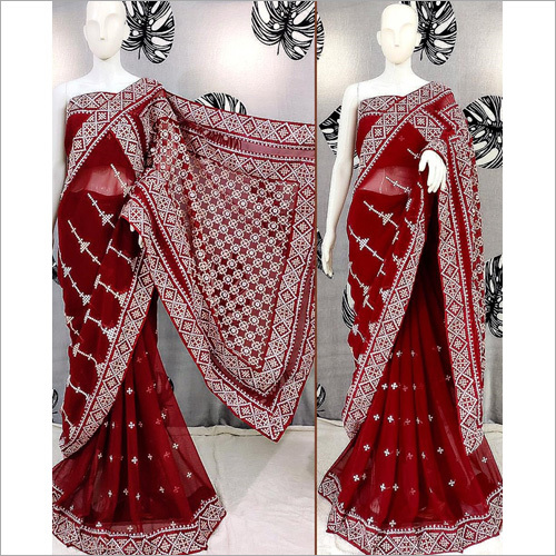 Embroidery Printed Red Saree