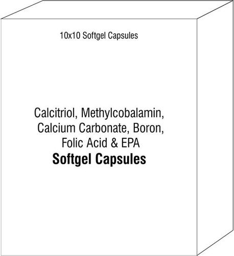 Soft Gelatin Capsule Of Calcitriol Methylcobalamin Calcium Carbonate Boron Folic Acid With Epa