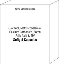 Soft Gelatin Capsule Of Calcitriol Methylcobalamin Calcium Carbonate Boron Folic Acid With Epa