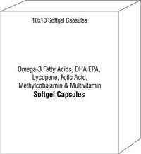 Softgel Capsules of Omega-3 Fatty Acids DHA EPA Lycopene Foilc Acid Methylcobalamin Multivitamin