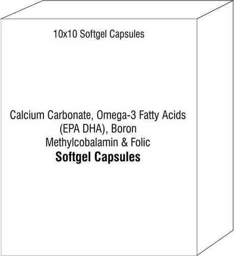 Soft Gelatin Capsule of Calcium Carbonate Omega-3 Fatty Acids (EPA DHA) Boron Methylcobalamin Folic