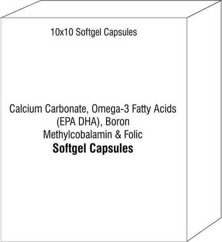 Soft Gelatin Capsule of Calcium Carbonate Omega-3 Fatty Acids (EPA DHA) Boron Methylcobalamin Folic