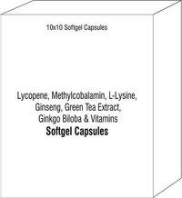 Lycopene Methylcobalamin L-Lysine Ginseng Green Tea Extract Ginkgo Biloba and Vitamins Softgel