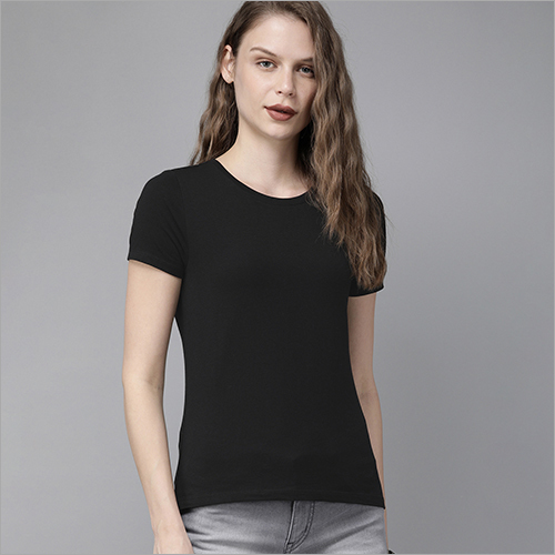 Ladies Round Neck Black T-Shirt