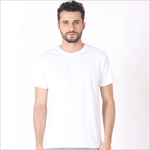 Mens Round Neck White T-Shirt