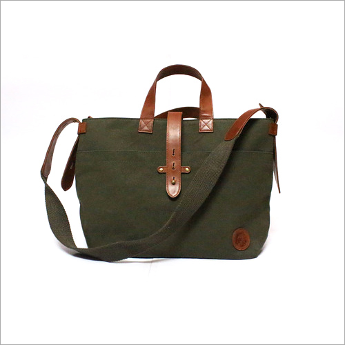 Waxed Canvas and Leather Women's Handbag