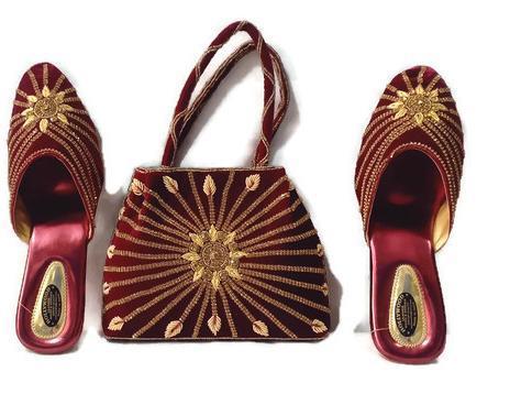 Velvet Handbags And Shoes