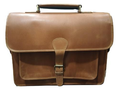 Genuine Tan Leather Briefcase