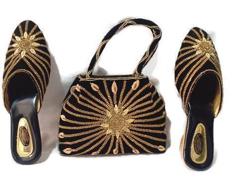 Velvet Black Ladies handbag & Shoes