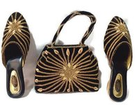 Velvet Black Ladies handbag & Shoes