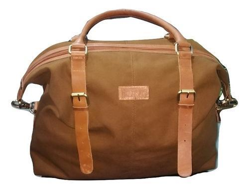 Waxed Canvas and Genuine Leather Duffle Bag