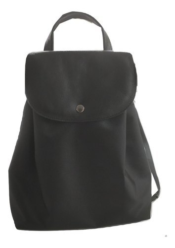 Genuine Leather And Nylon Backpack