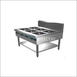 Stainless steel gas range with 6 Burners