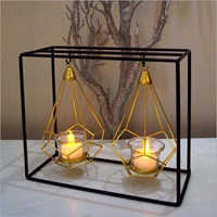 Black And Gold Metal And Glass Candle Holder