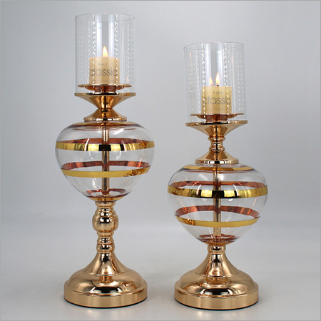 Glass with Brass Candle Stand
